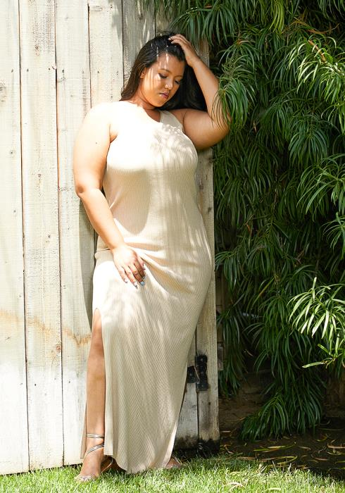 Asoph Plus Size Ribbed Knit Slit Maxi Dress
