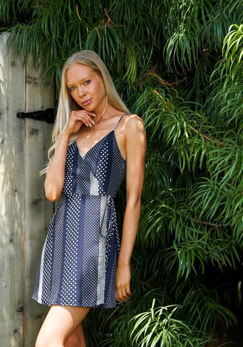 Tansy Multi Dot Wrap Dress