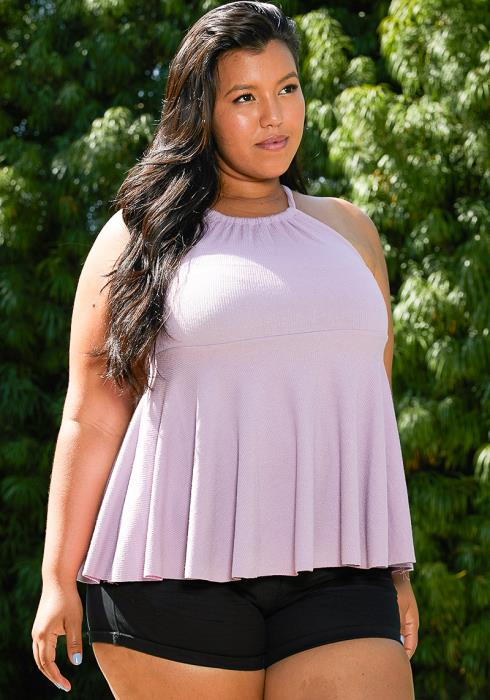 Asoph Plus Size Halter Neck Top