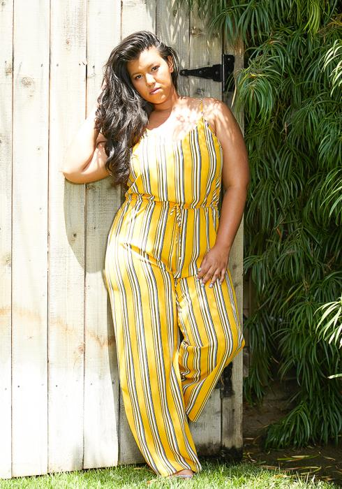 Asoph Plus Size Multi Stripe Jumpsuit