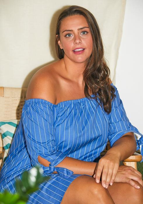 Asoph Plus Size Off Shoulder Stripe Dress