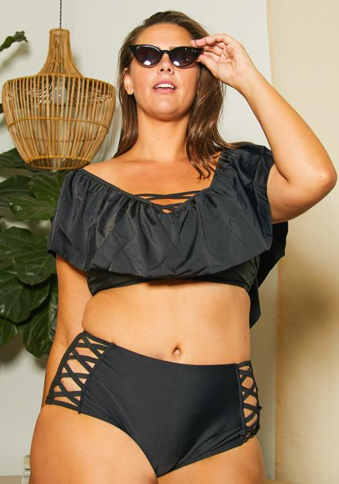 Asoph Plus Size Lace Up Swimsuit Set