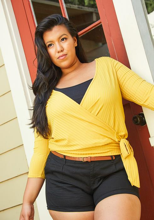 Asoph Plus Size Wrap Tie Blouse