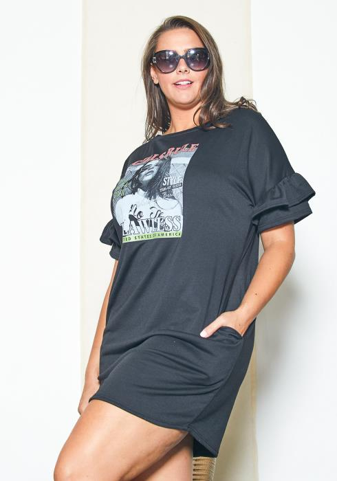 Asoph Plus Size Graphic Tee Dress