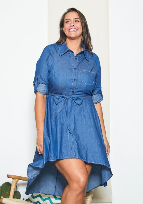 Asoph Plus Size Denim Hi Lo Dress
