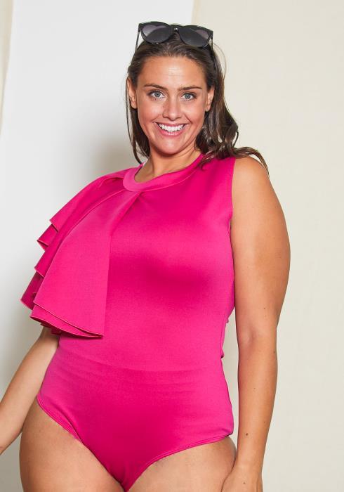 Asoph Plus Size Side Ruffle Bodysuit