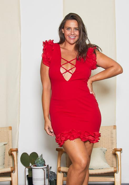 Asoph Plus Size Lace Up Party Dress