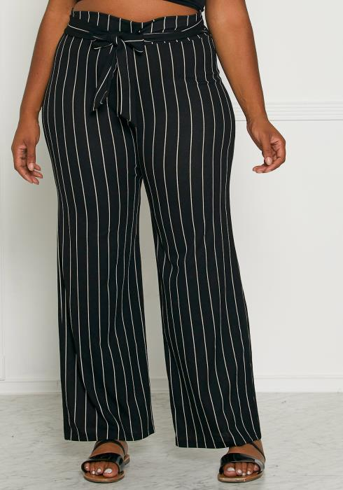 Asoph Plus Size Black & White Party Pants
