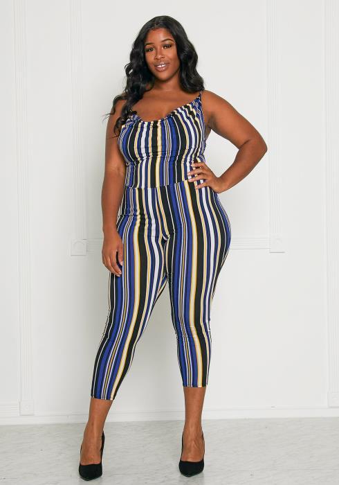 Asoph Plus Size Striped Jumpsuit