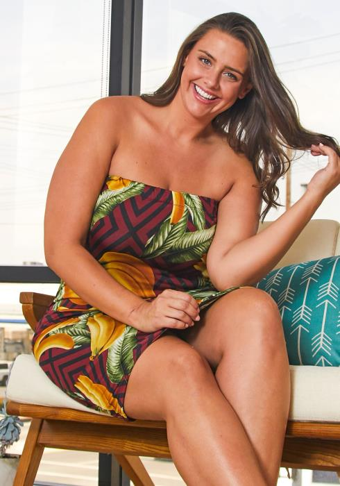 Asoph Plus Size Tube Top Tropical Bodycon Dress