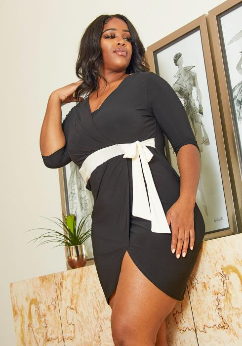 Asoph Plus Size Wrapped Dress