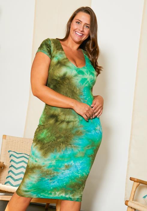 Asoph Plus Size Splash Tie Dye Womens Bodycon Dress