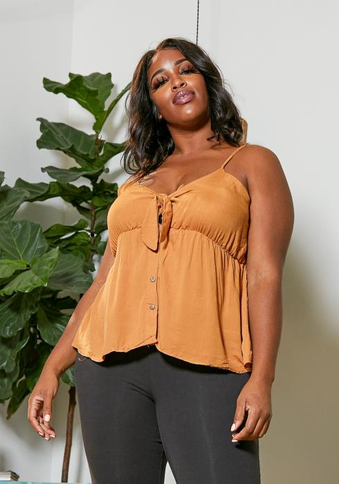 Asoph Plus Size Tie Front Flared Cami Top