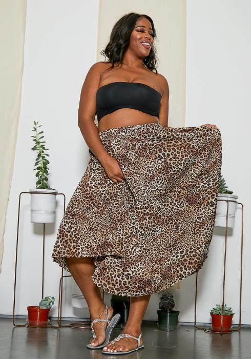 Asoph Plus Size Safari Leopard Skirt