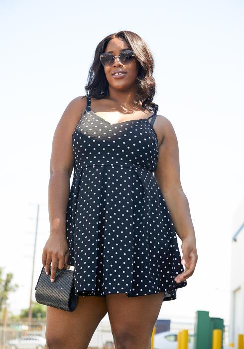 Asoph Plus Size Polkadot Flared Dress