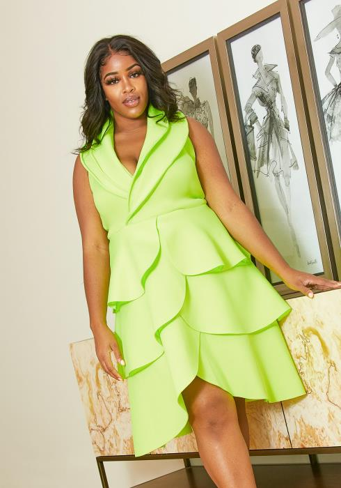 Asoph Plus Size Neon Tiered Petal Dress