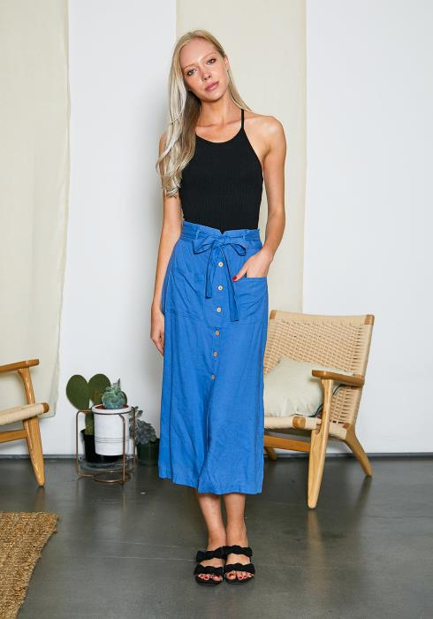 Tansy Denim Blue Midi Skirt