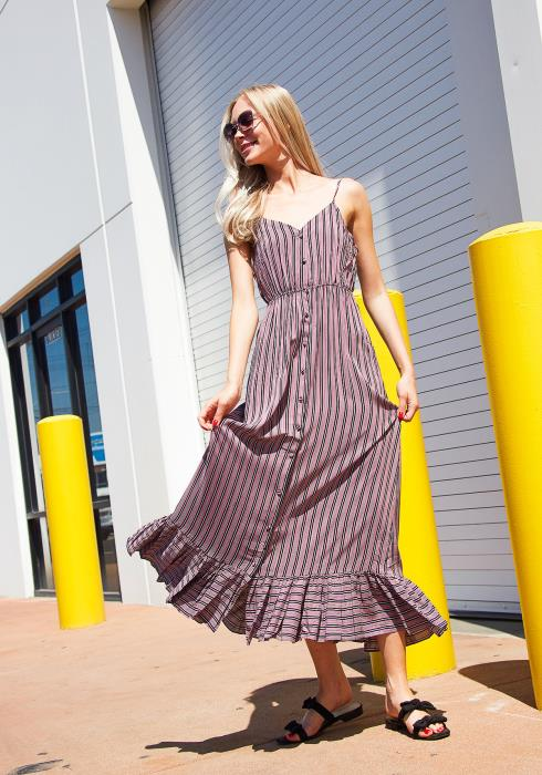 Tansy Stripe Flared Hem Maxi Dress