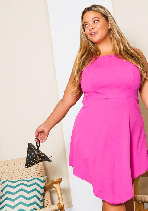 Asoph Curvy Womens Doll Pink Fit and Flare Dress