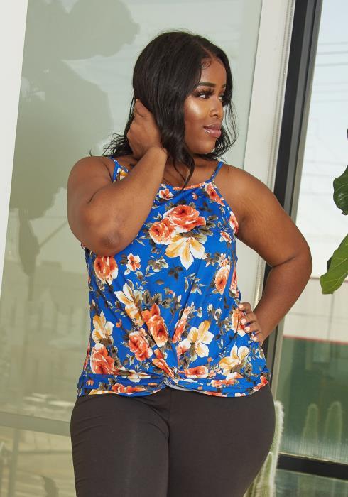 Asoph Plus Size Twist Hem Floral Cami Top