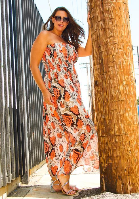 Asoph Plus Size Smocked Snake Print Maxi Dress