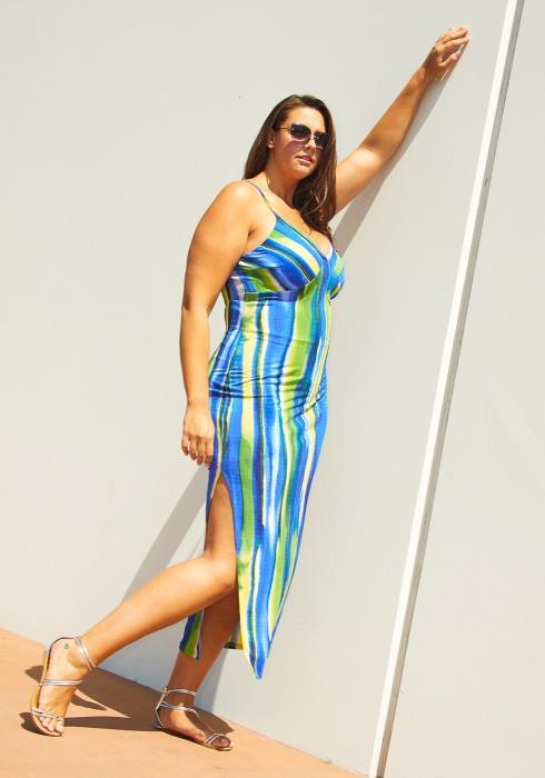 Asoph Plus Size Ocean Stripe Dress