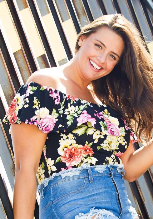 Asoph Plus Size Off Shoulder Floral Bodysuit
