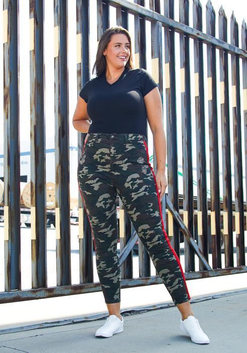 Asoph Plus Size Camo Taped Jean