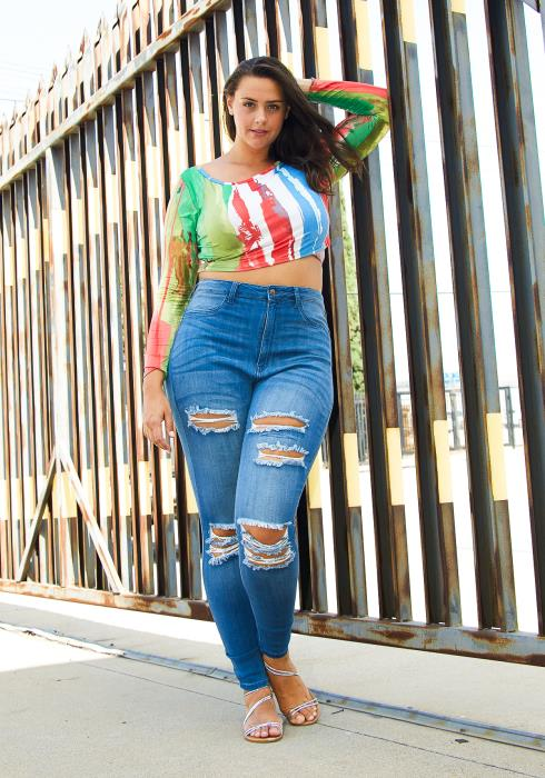 Asoph Plus Size High Waisted Skinny Jean