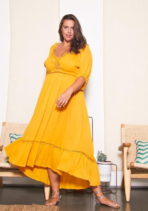 Asoph Plus Size Vintage Textured Maxi Dress