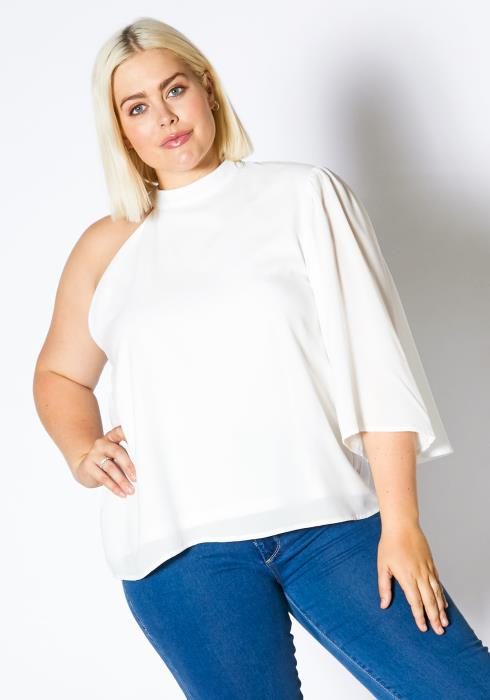 Asoph Plus Size One Shoulder Blouse Top