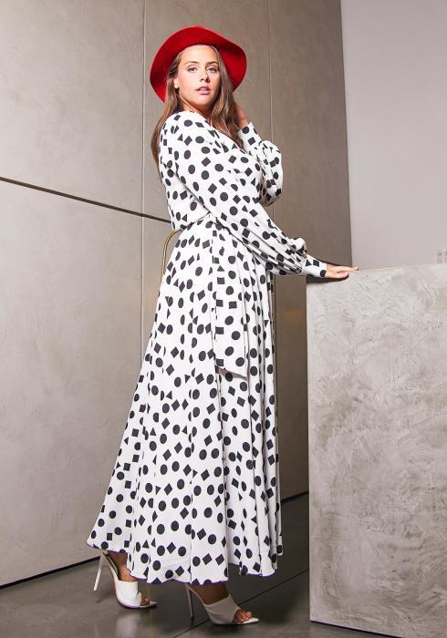 Asoph Plus Size Raining Dots Maxi Dress