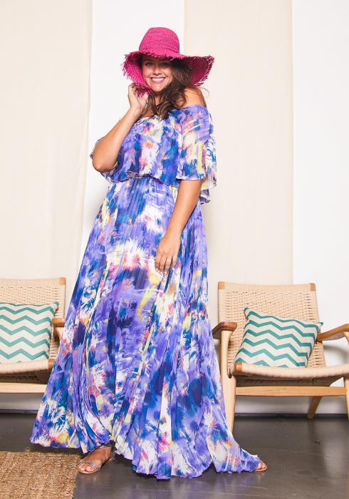 Asoph Plus Size Purple Shower Maxi Dress