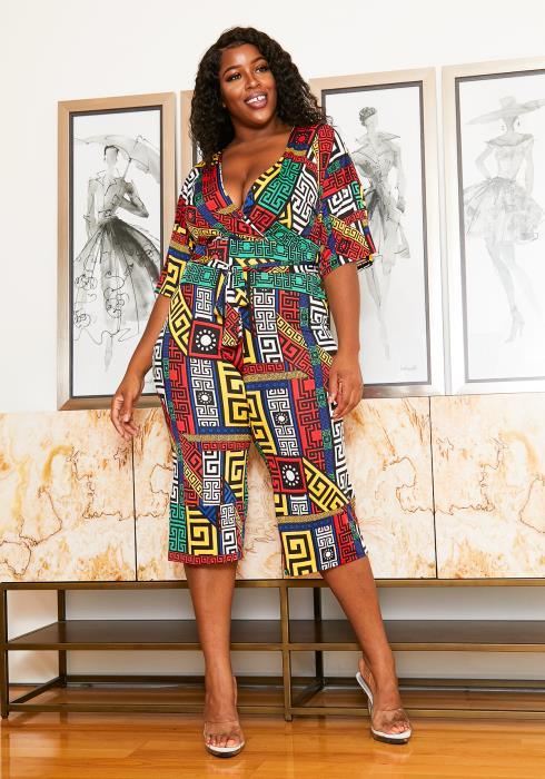Asoph Curvy Womens Multi Geo Print Cropped Romper