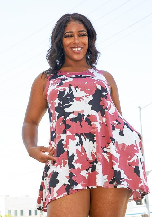 Asoph Plus Size Camo Print Sleeveless Tunic Dress