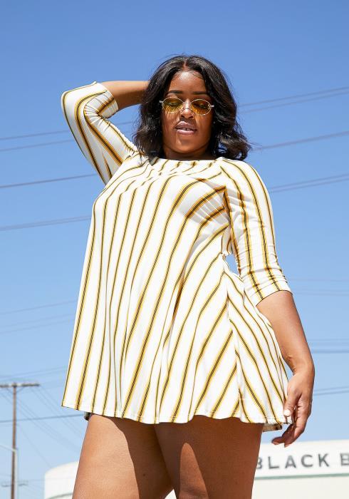 Asoph Plus Size Beach Stripe Tunic Dress