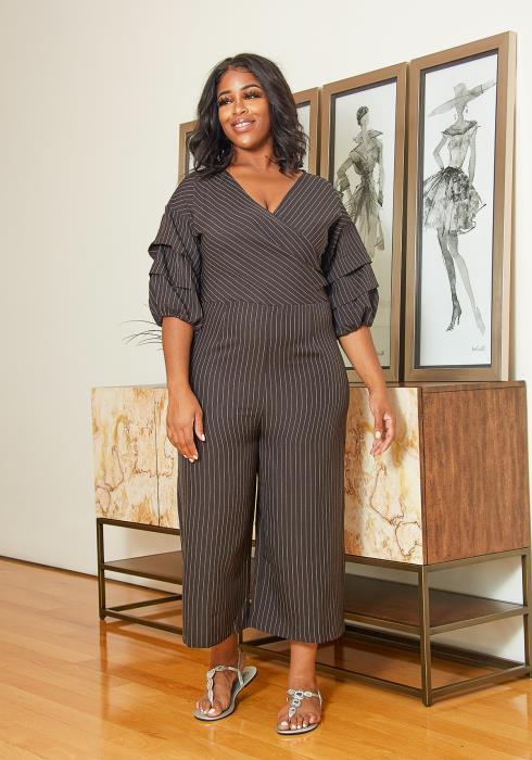 Asoph Plus Size Striped Wrap Jumpsuit