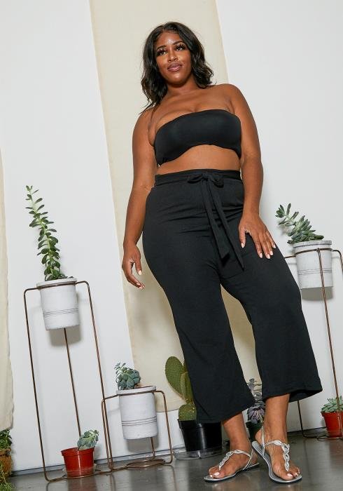 Asoph Plus Size Cropped High Waist Pants