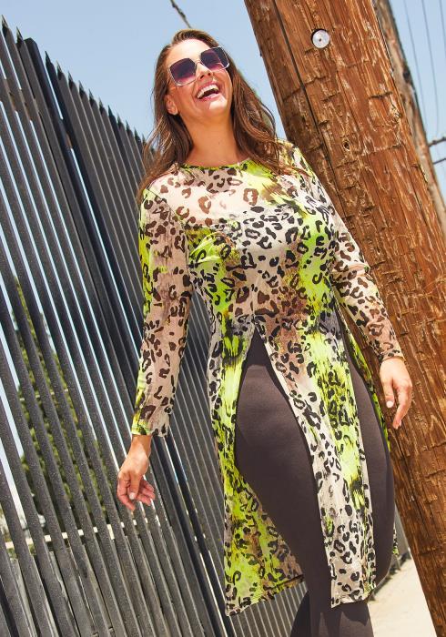 Asoph Plus Size Womens Leopard Slit Top