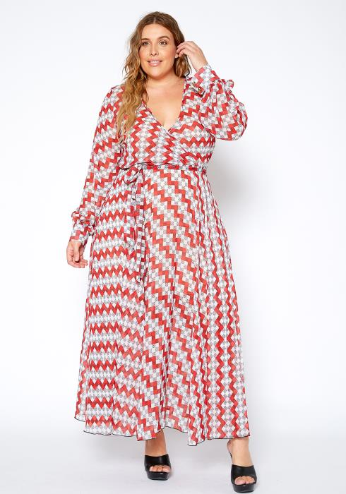 Asoph Plus Size Multi Print Wrap Maxi Dress