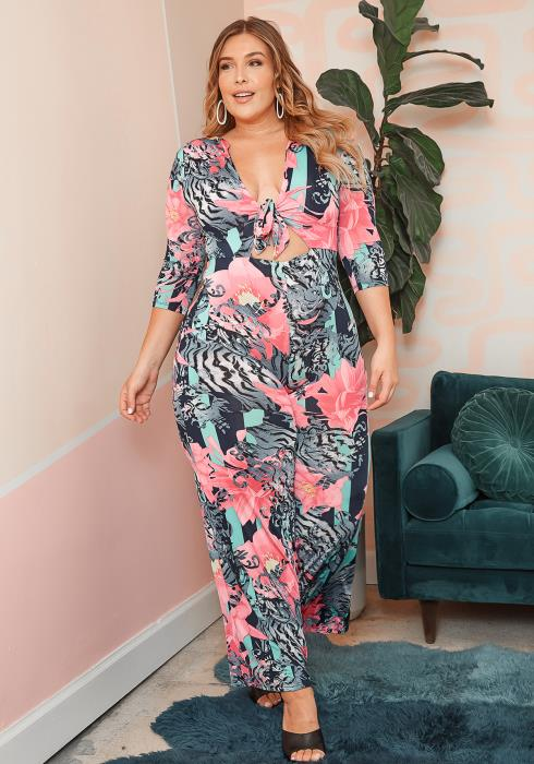 Asoph Plus Size Exotic Wonder Tie Front Jumpsuit