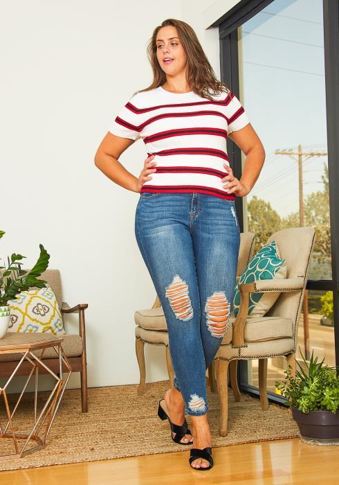 Asoph Plus Size Ripped Knee Denim