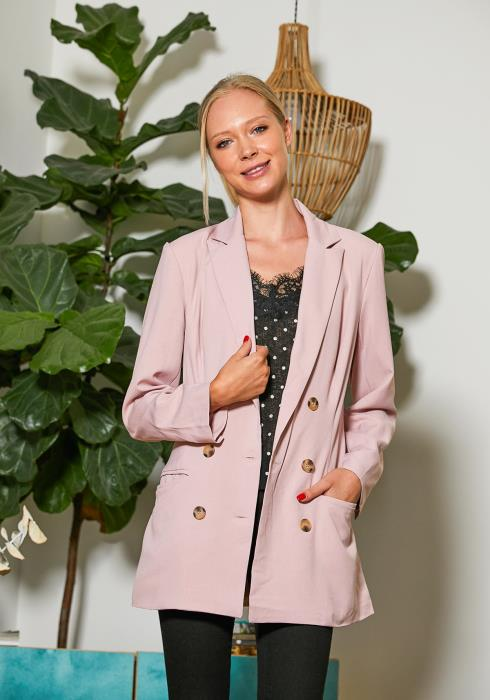 Tansy Dusty Pink Casual Women Blazer