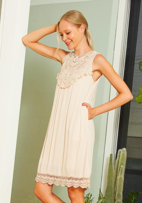 Tansy Sleeveless Lace Trim Shift Dress