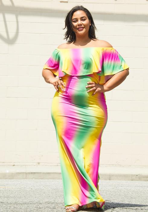 Asoph Plus Size Rainbow Stripe Maxi Dress