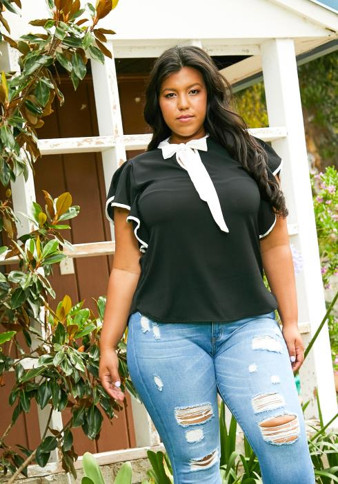 Asoph Plus Size Professional Womens Ruffle Blouse
