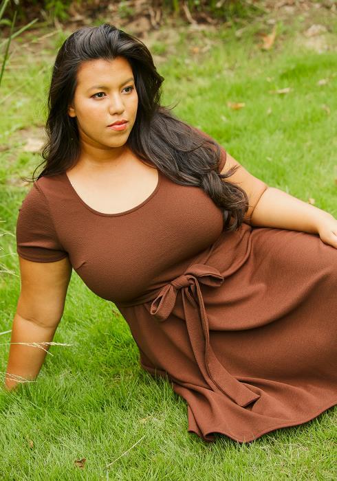Asoph Plus Size Crewneck Hi Lo Flared Dress