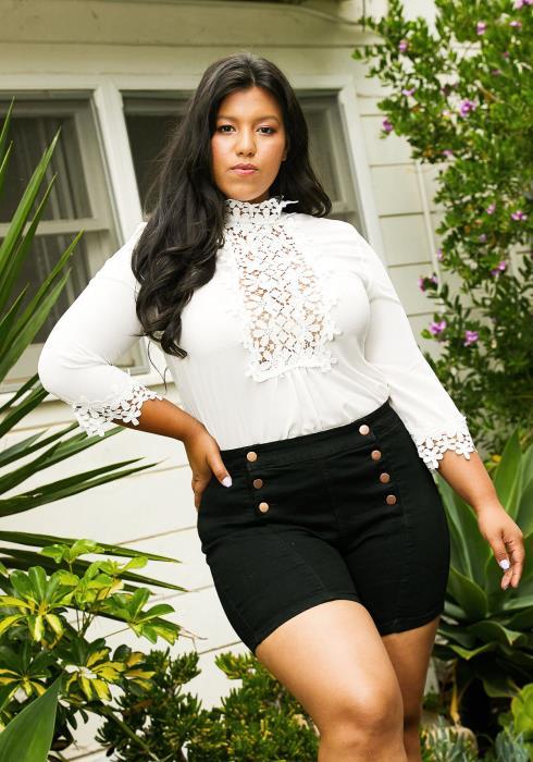 Asoph Plus Size Buttoned High Waist Shorts