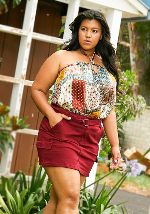 Asoph Plus Size Mini Skirt With Belt