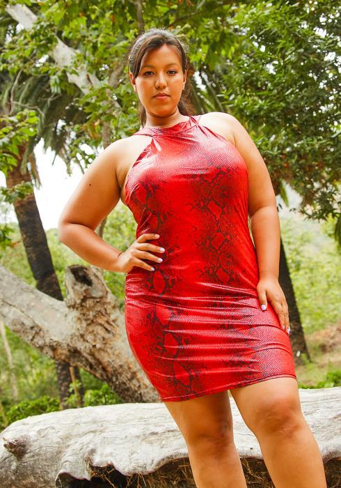 Asoph Plus Size Wild Snake Womens Bodycon Dress
